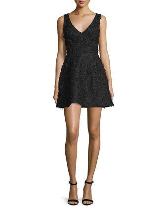 Sleeveless Floral-Applique Mini Dress, Black by Monique Lhuillier at Neiman Marcus.