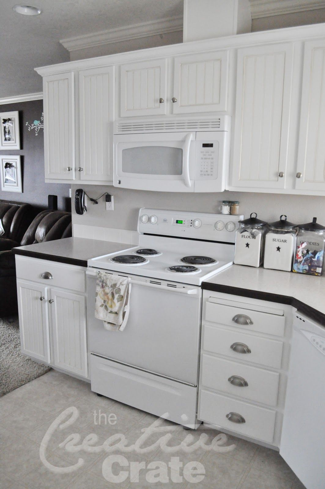 Classy White Beadboard Wallpaper Cabinets Feat Concrete Countertop In Cheap White Kitchen Deco Beadboard Kitchen Beadboard Kitchen Cabinets Wainscoting Kitchen