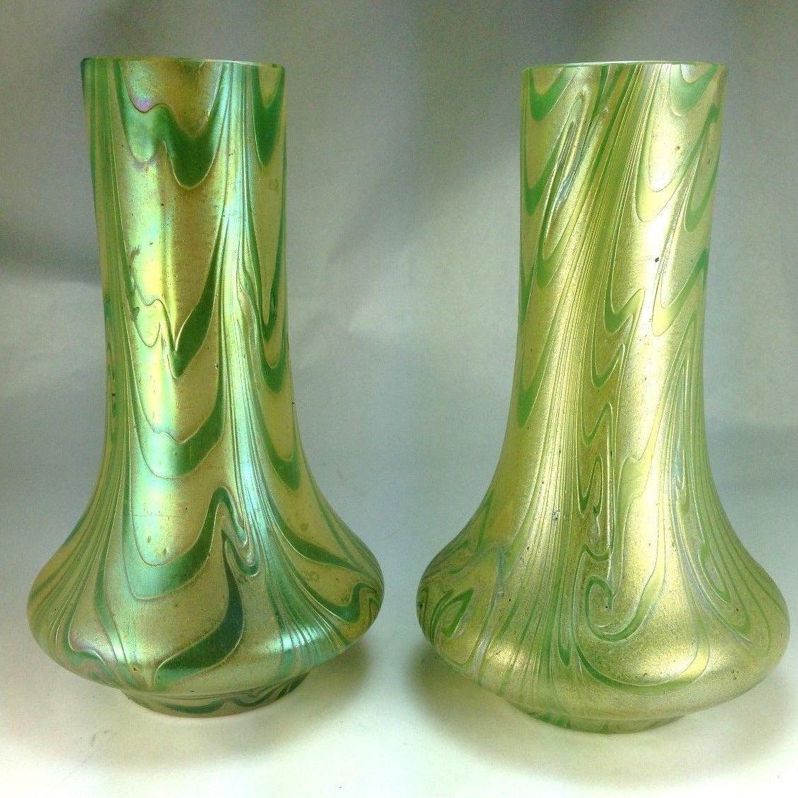 Antique pair 2 bohemian art nouveau iridescent pulled feather antique pair 2 bohemian art nouveau iridescent pulled feather art glass vases ebay floridaeventfo Images