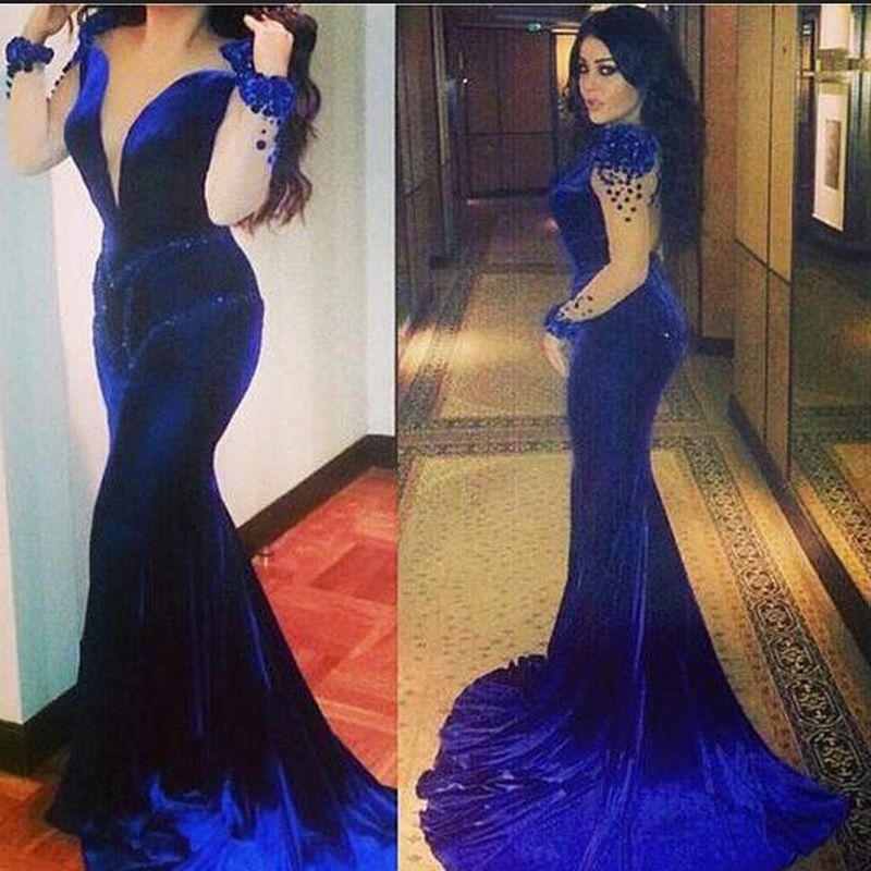 Blue Velvet Wedding Gown with Train