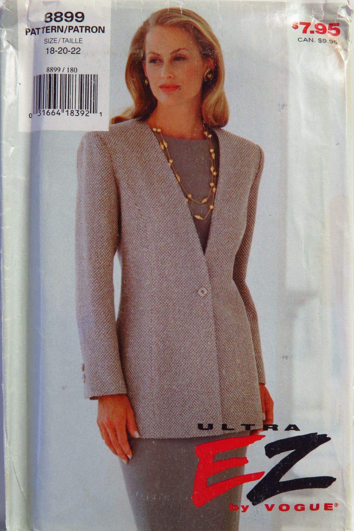 Vogue 8899 Misses\' Jacket and Dress | Vogue patterns, Dress patterns ...