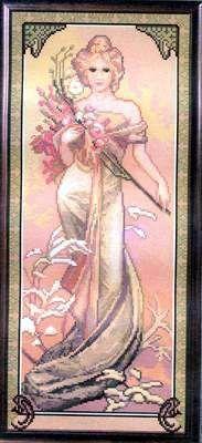 Borduurpatroon Kruissteek Mucha *Embroidery Cross Stitch Pattern ~Seasons: Spring 1/7~