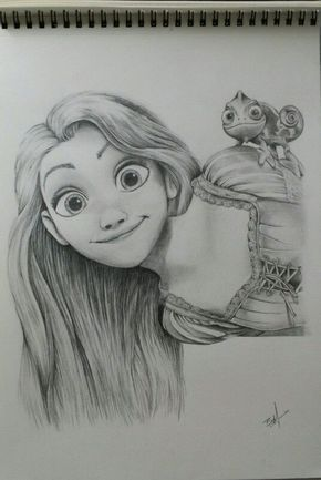 Disney sketch rapunzel and pascal