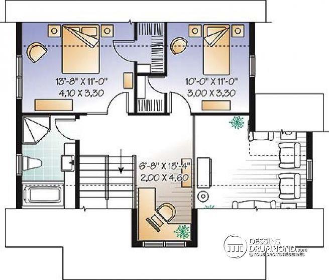 Découvrez Le Plan W3519 (Bellefeuille) Qui Vous Plaîra Pour Ses 3 Chambres  Et Son Style Champêtre. Grandes Images