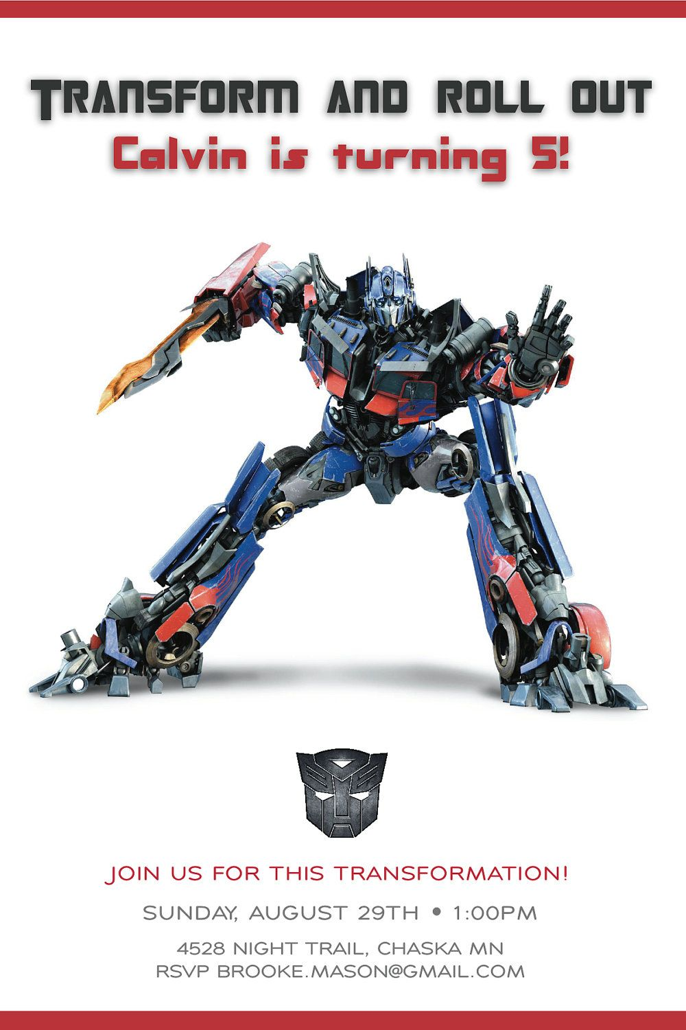 Cool Transformer Birthday Invitations | FREE Printable Invitation ...
