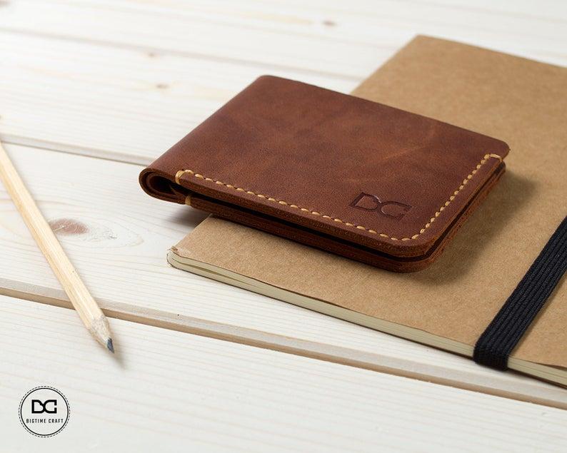 Light Brown Super Slim Bifold Wallet Etsy Bi Fold Wallet Wallet Leather Glue