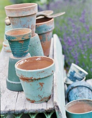 At The Picket Fence With Vanessa Hunt Painted Clay Pots Vignette Design Flower Pots