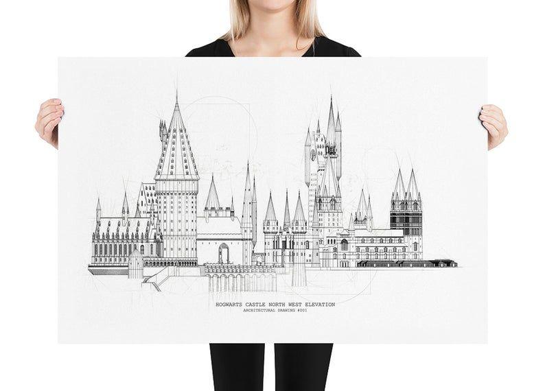 Hogwarts Castle Drawing Architecture Blueprint Harry Potter Fan Art Matte Print