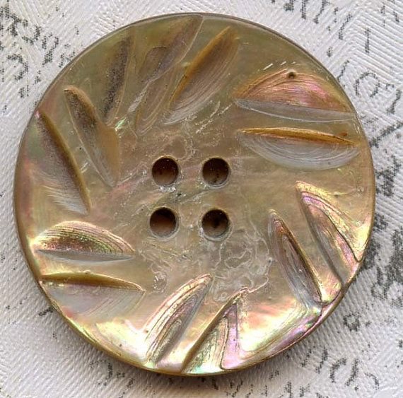 Vintage Carved Rainbow Abalone Shell Coat Button 1-1/16 inch 27mm Pinwheel