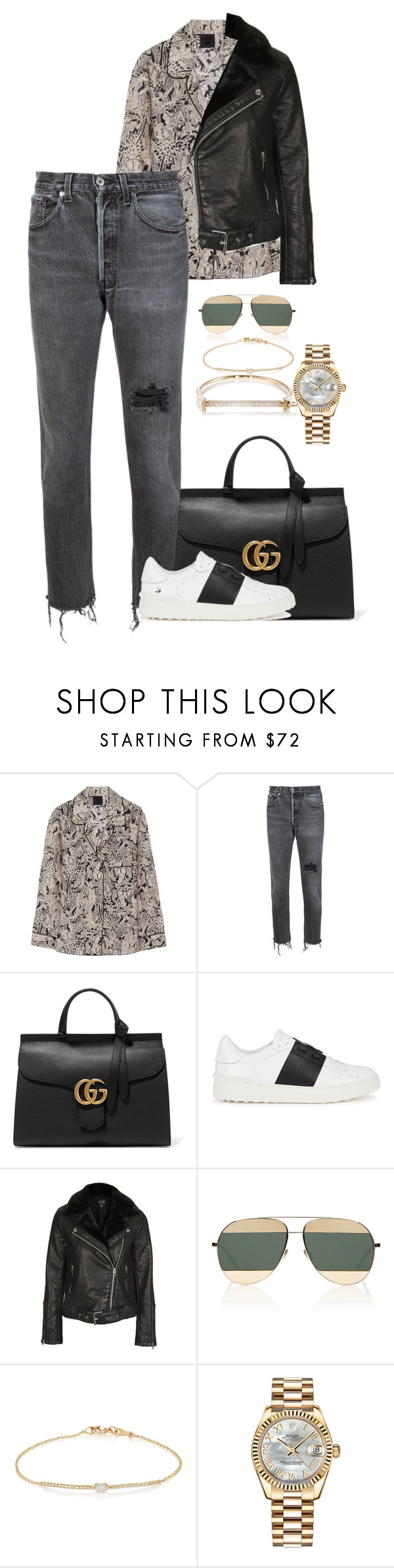 """Untitled #2617"" by moxfordf on Polyvore featuring moda, Anna Sui, RE/DONE, Gucci, Valentino, Topshop, Christian Dior, Tate, Rolex y MIANSAI"