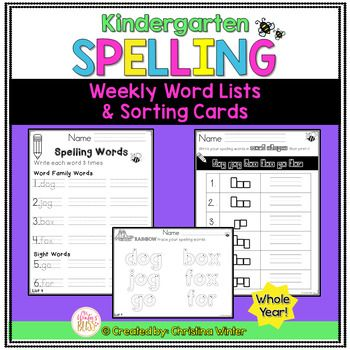 Kindergarten Spelling Word Lists EDITABLE {year-long} Spelling word list activities for each weekly list for the entire year! Here is everything you need to get a successful kindergarten spelling word study running in your classroom TODAY! Included are weekly spelling word lists, sight word practice, and word sorting cards.