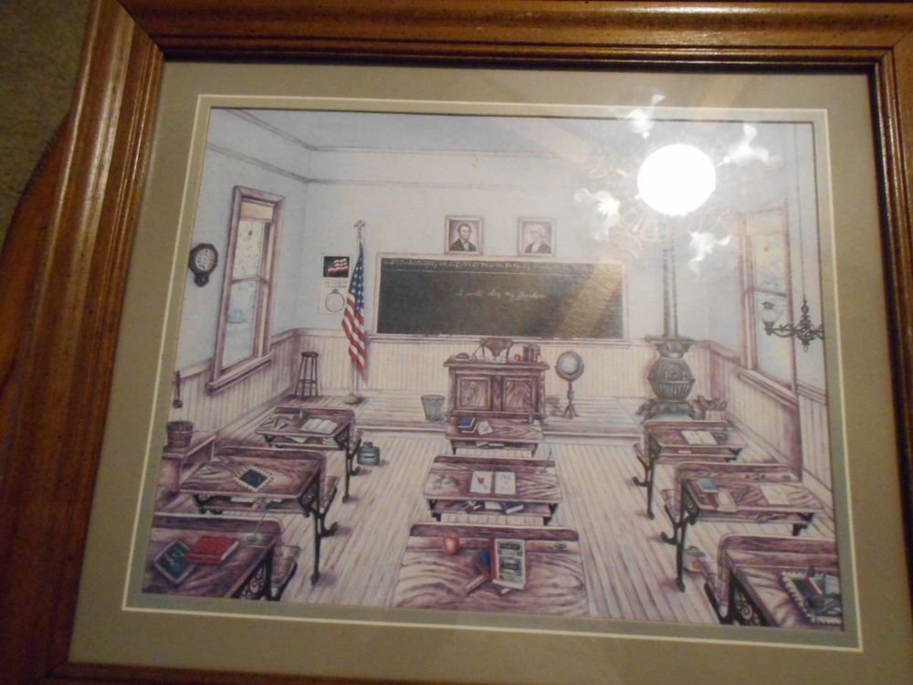 Old School Room Picture I Will Obey My Teacher Homco Home