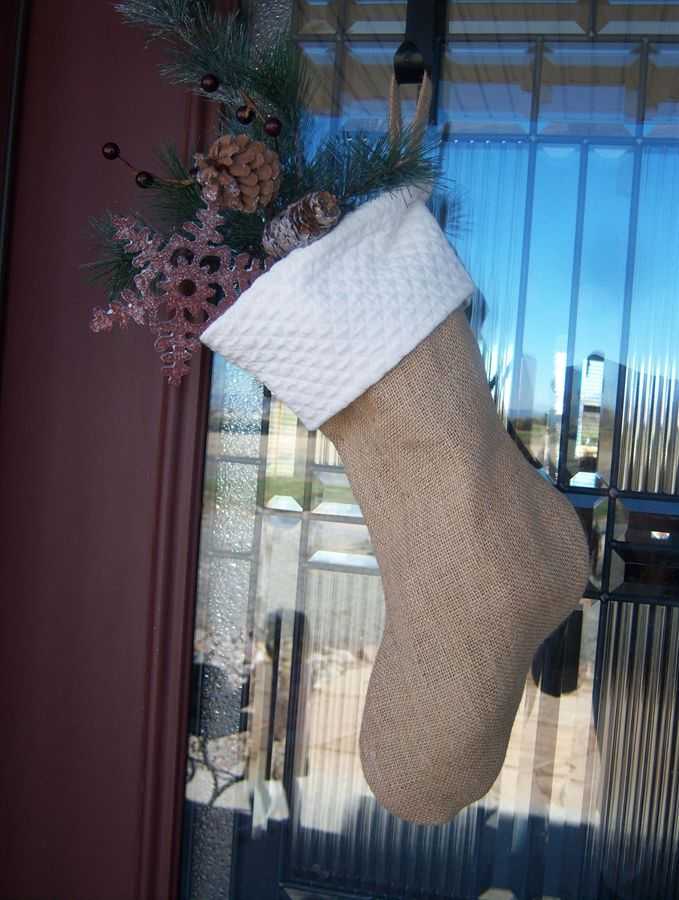 For Sale! 4 Burlap Stockings - Inspired by Pottery Barn ...