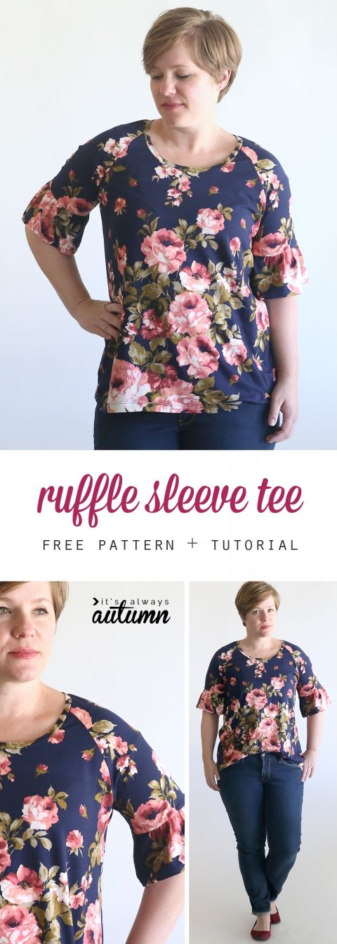 pretty ruffle sleeve raglan tee sewing tutorial | Oberteile ...