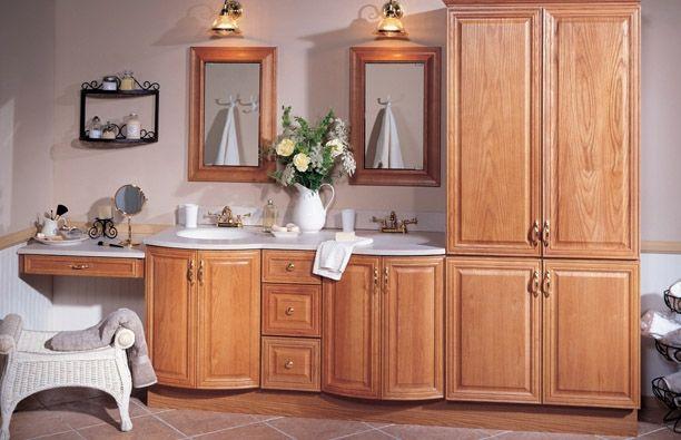 Raised Panel Medium Oak Bathroom Cabinets   Bathroom ...
