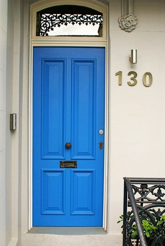 Stoop Style Ideas For Small And Beautiful Front Porches Blue Front Door Beautiful Front Doors Door Color