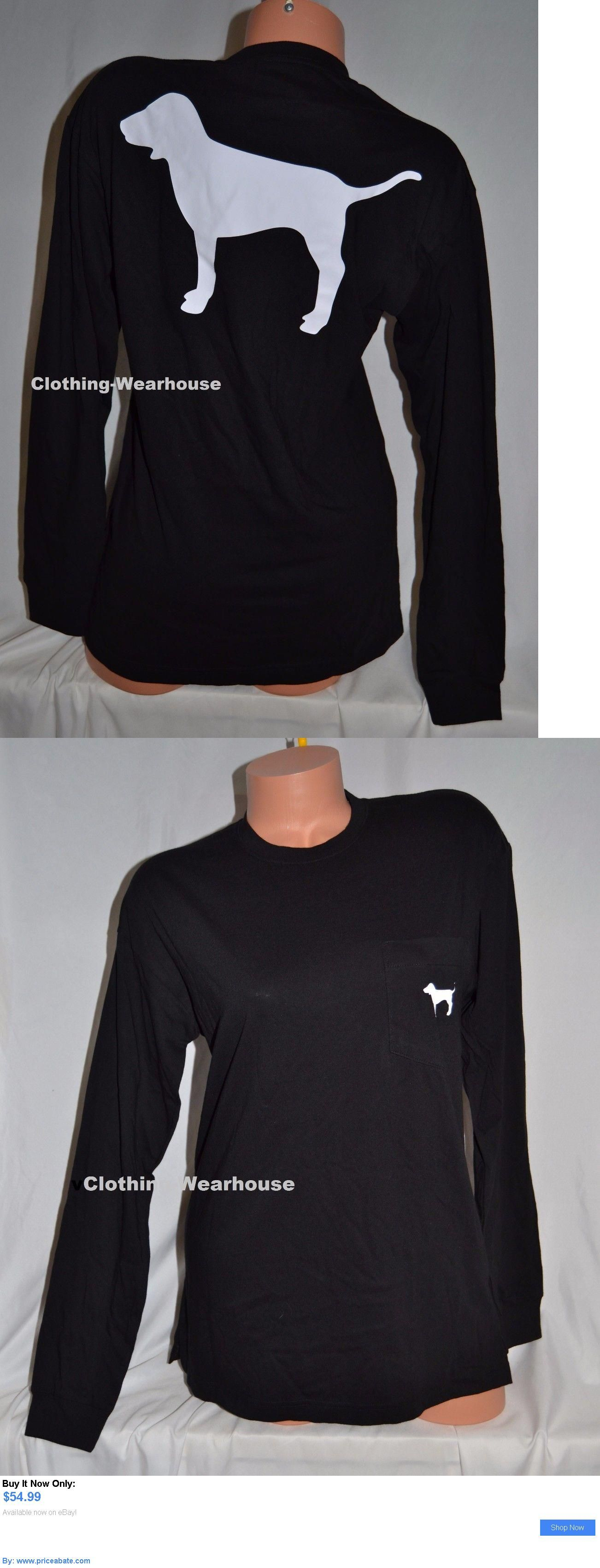 Black dog t shirt ebay - Women T Shirts Victorias Secret Pink Black Dog Logo Campus Long Sleeve Pocket Tee Shirt