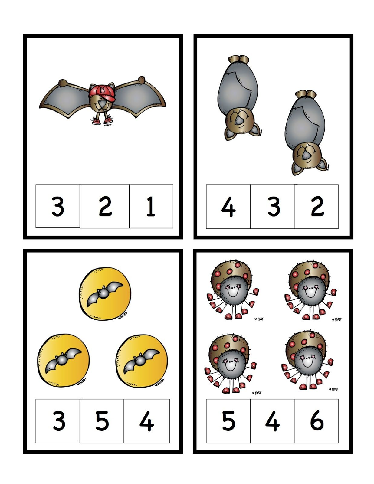 Bats Amp Spiders Number Cards Preschool Printables