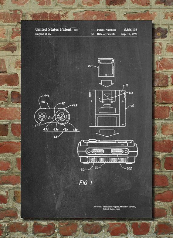 Super Nintendo Console Remote and Cartridge Patent Poster, SNES - new blueprint coffee watson