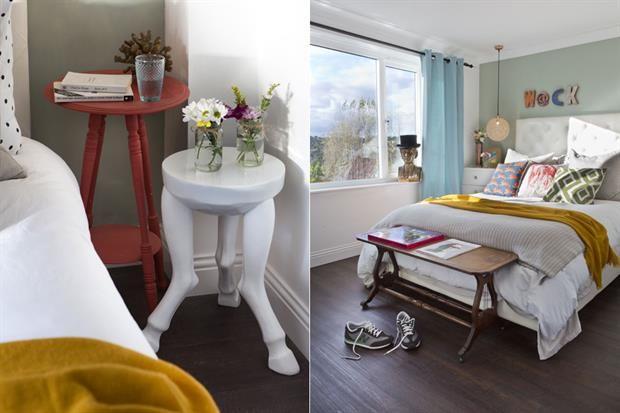 Propuestas inspiradoras para tu dormitorio  Jugá cono los diseños: en este cuarto se utilizaron distintos recursos a modo de mesitas de luz. La propuesta le da un dinamismo diferente y rompe la simetría.         Foto:Archivo LIVING