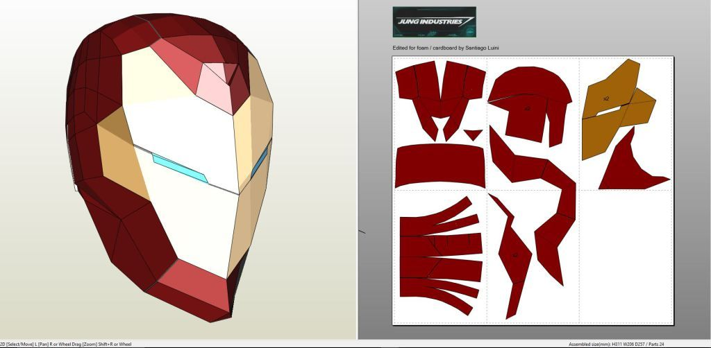 Papercraft .pdo file template for Invincible Iron Man - Helmet ...