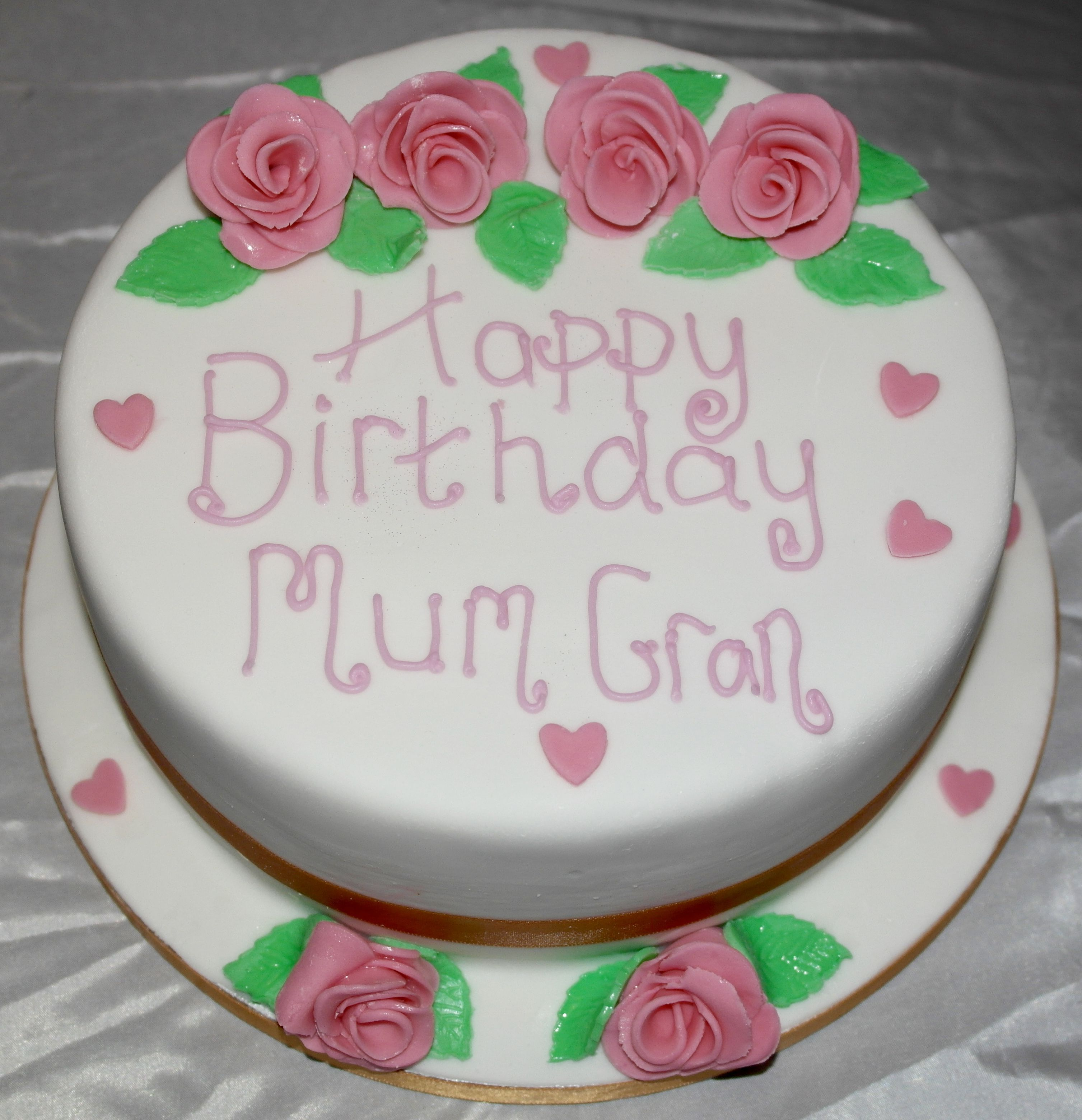 Mum Gran Birthday Cake Rum Cake With Fondant Flower Decorations