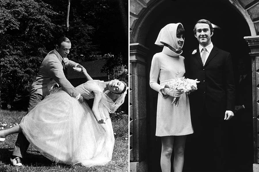 """À esquerda: Audrey Hepburn se casando com Fred Astaire em """"Funny Face"""" (1957).  À direita: com o marido Andrea Dotti, em 1969."""