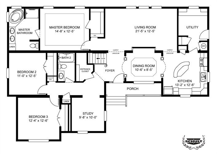 Clayton homes home floor plan manufactured homes for 5 bedroom 3 bath mobile home
