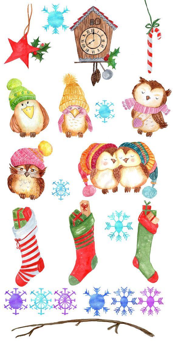 Christmas Holiday Clipart.Watercolor Christmas Clipart Christmas Clip Art Cute