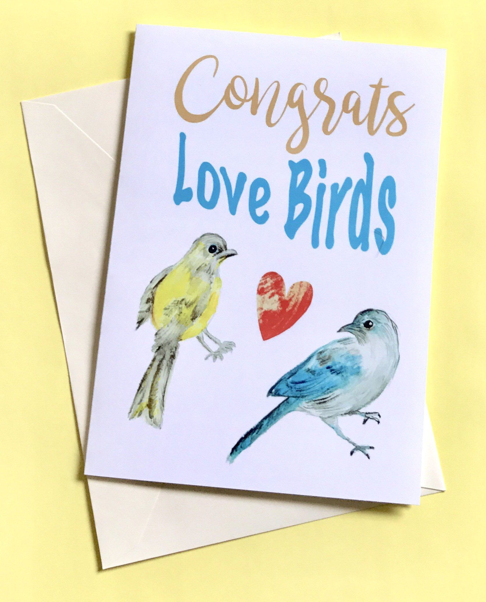 Congrats Wedding Card Congratulations Card Unique Love Birds Card