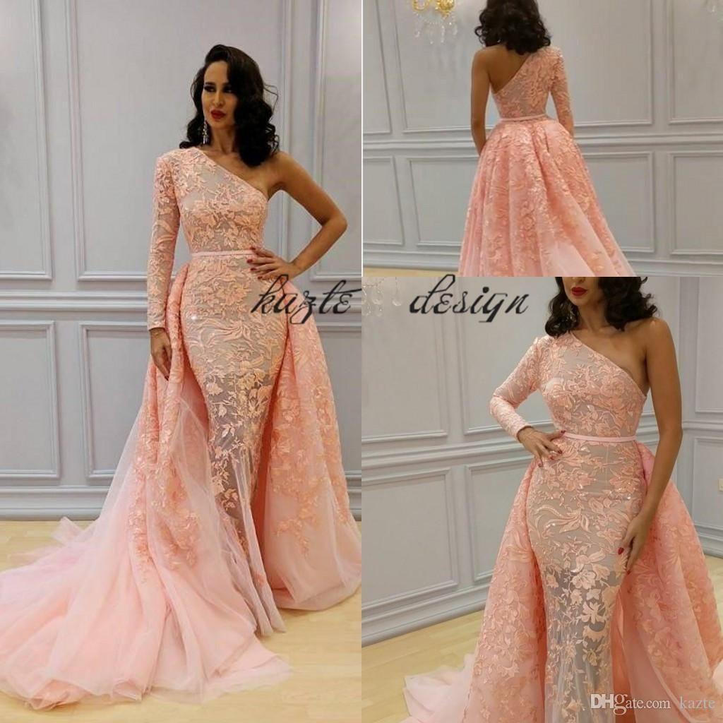 Overskirt Mermaid Formal Dresses Evening Wear One Shoulder Long