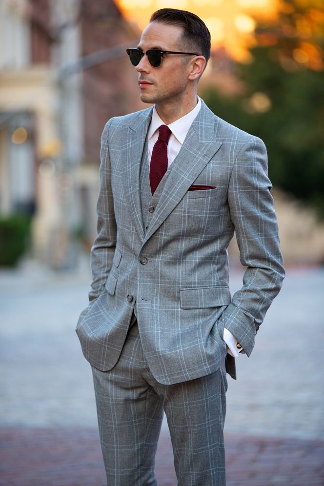 The Grey Plaid Three Piece Suit | Grey suit combinations ...