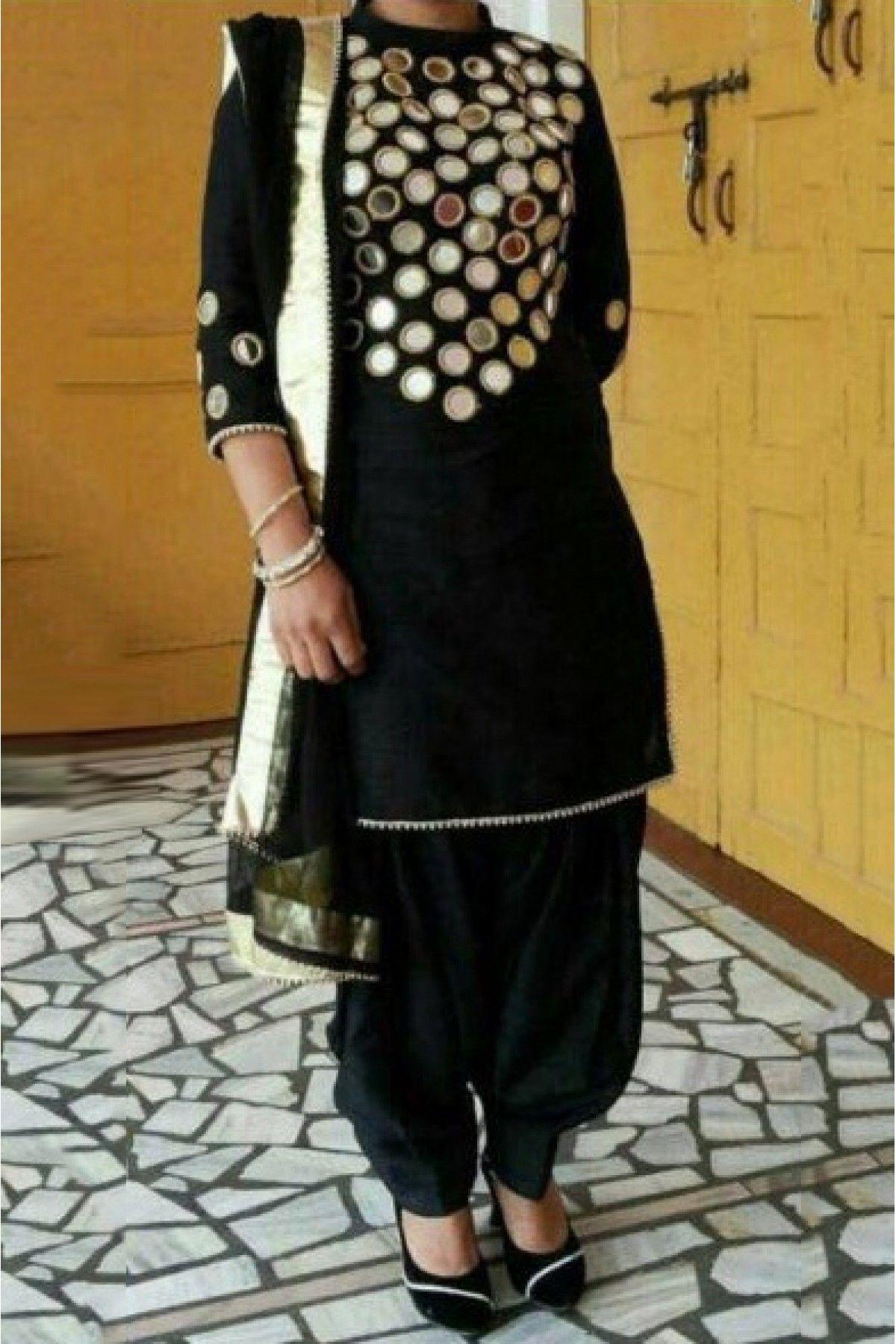 Cotton Party Wear Patiala Suit in Black Colour