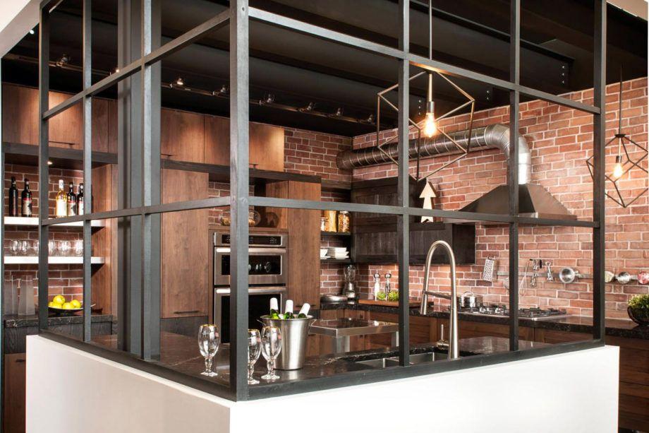 Cuisine: Enchanteur Cuisine Style Industriel Avec Meuble Cuisine Style Loft  Galerie Images Cuisine Semi Ouverte Briques Esprit Cuisine Style Industriel