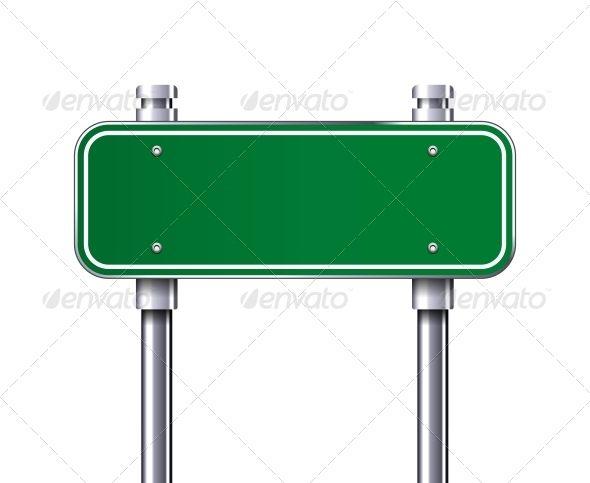 Blank Green Traffic Road Sign Vector Illustration Vectors