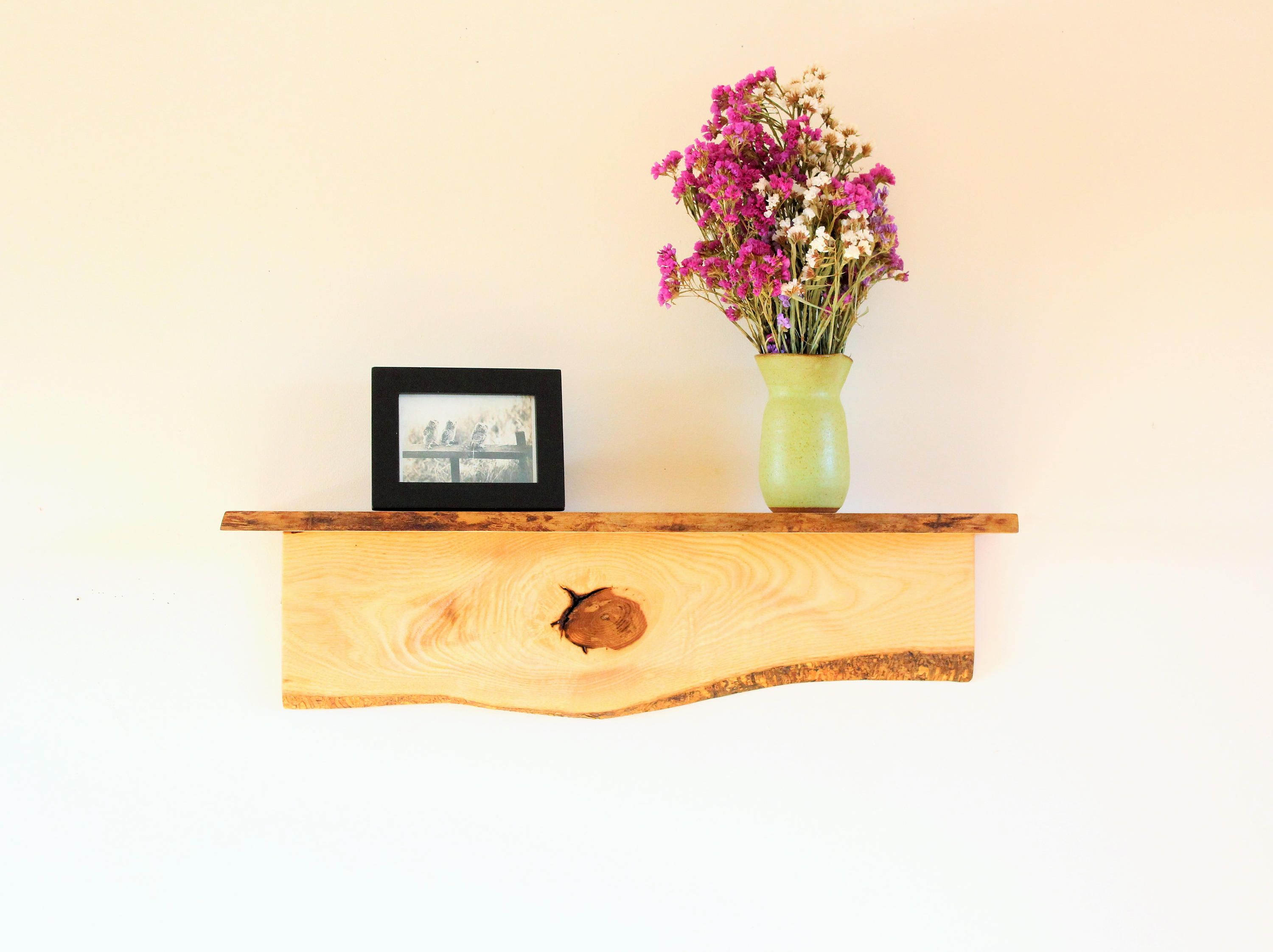 Rustic Wall Mount Shelf-Ash & Cherry Wood/Live Edge Shelf/Natural ...