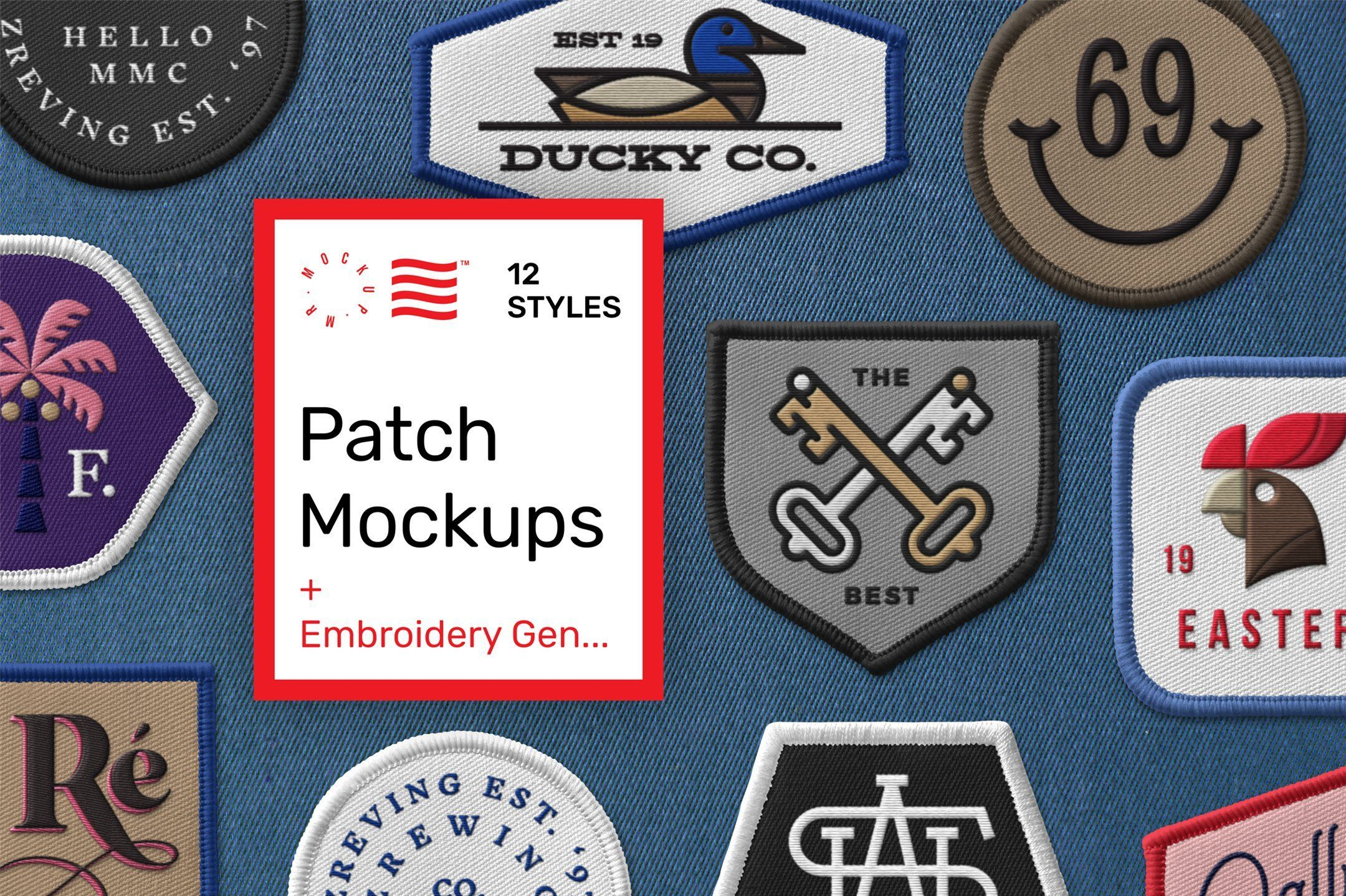 Patch Mockups Embroidery Generator Pin Logo Branding Mockups Embroidered Patches