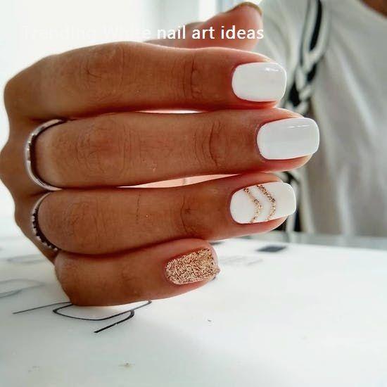 30 Simple Trending White Nail Design Ideas Nails Naildesigsn Holiday Nails White Nail Art Summer Nails Colors