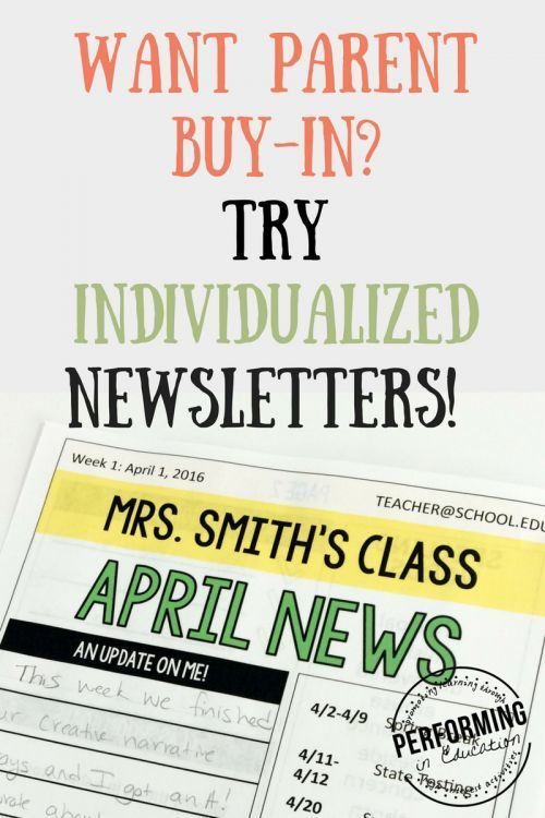 Individualized newsletters for parent and student buy-in - 12 months of classroom newsletters customizable for each student