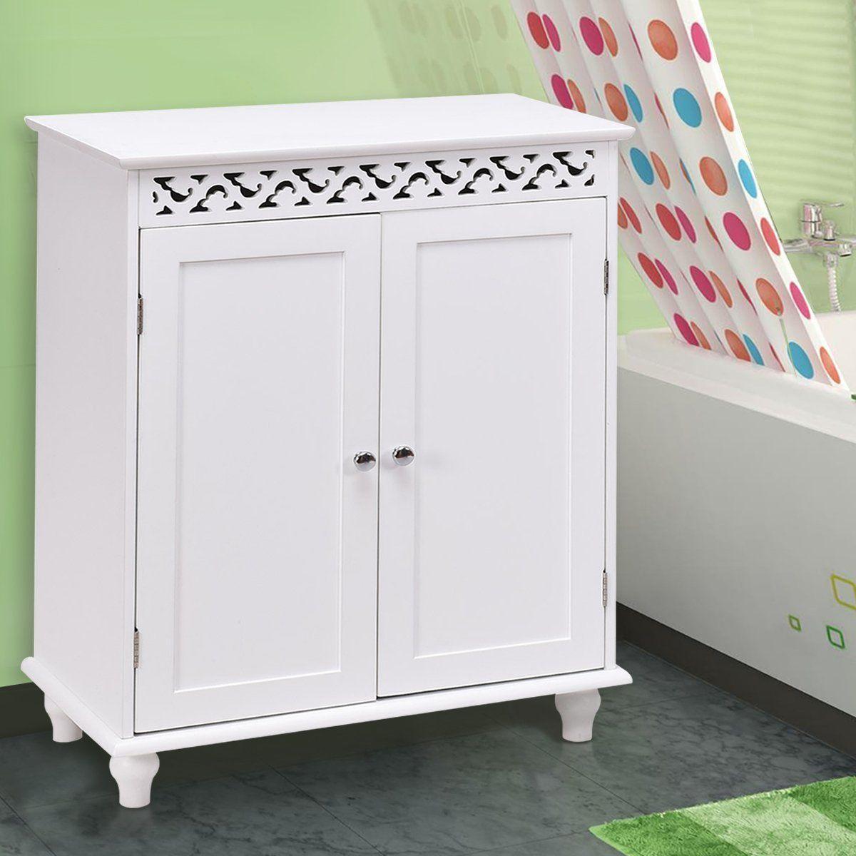 Floor Cabinet White Wooden Free Standing Cupboard Storage Wooden Bathroom Floor Storage Cabinet Shelves
