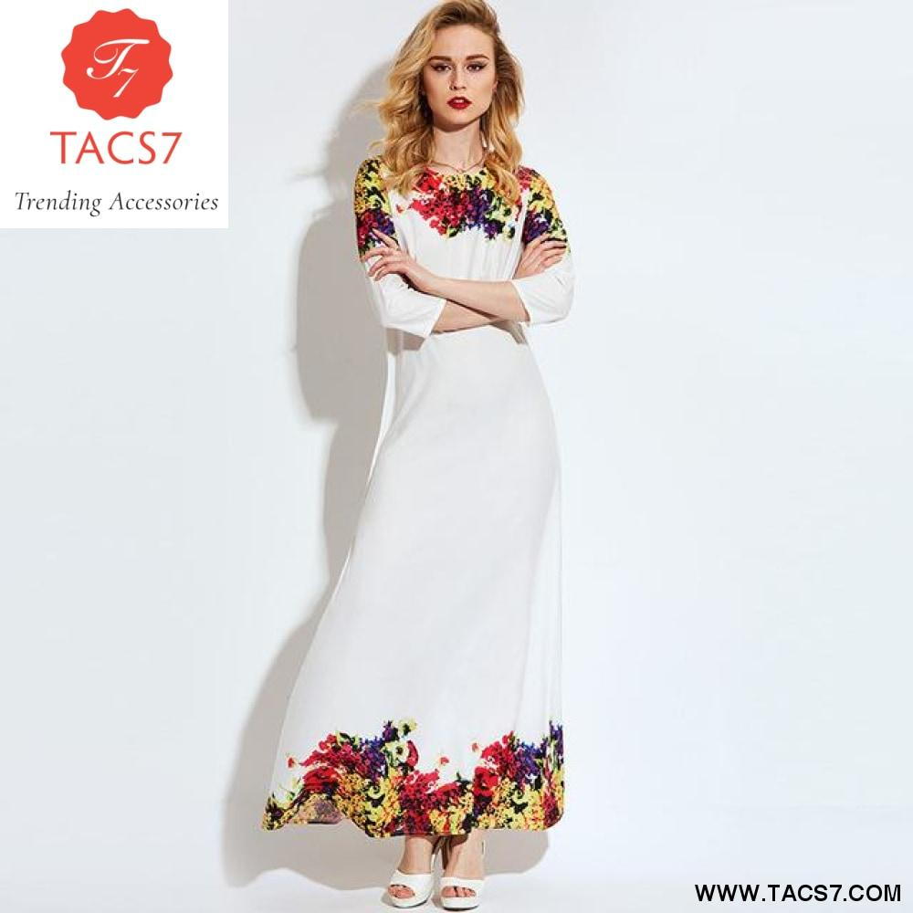 Vintacy women long dress plus size white print floral maxi dress