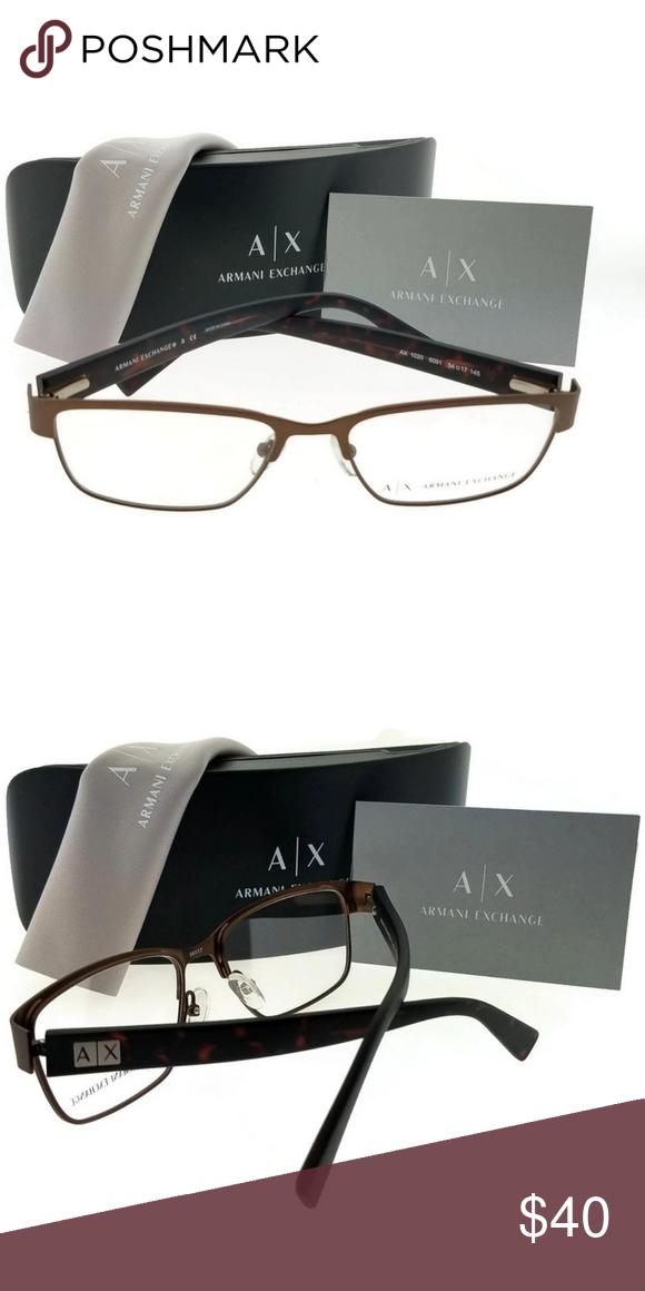 68d56c1e9fb1 Ax1020-6091-54 Armani Exchange Eyeglasses Armani Exchange AX1020-6091-54  Men s brown frame clear Lens 54mm genuine eyeglasses with stylish look.