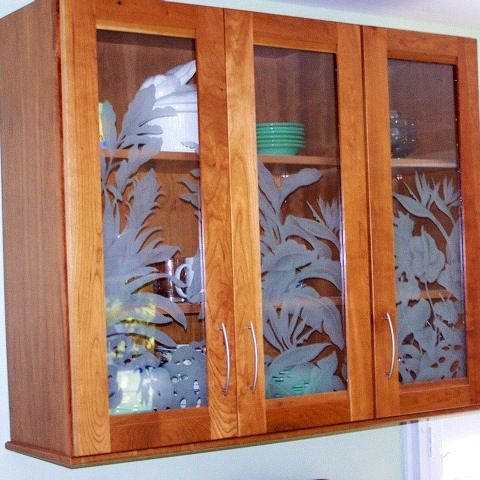 Etched glass Hawaiiana design by Cory Kot for kitchen cabinets ...