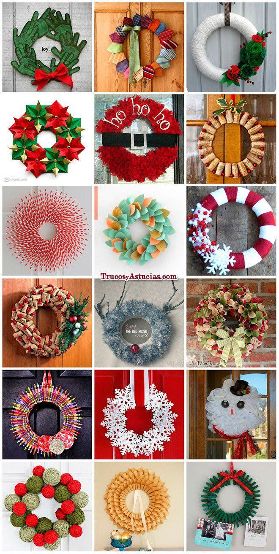 Coronas navide as navidad navidad manualidades for Decoraciones navidenas para hacer en casa