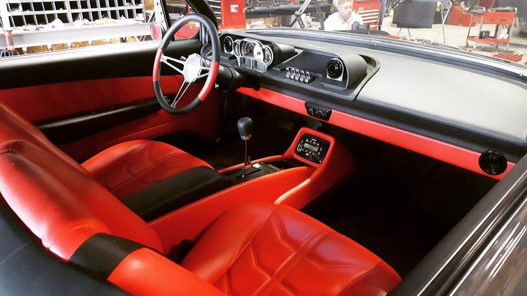 62 Impala Bubble Top Red And Black Interior Custom Door Panels And Console Custom Center Console Custom Consoles Custom Car Interior