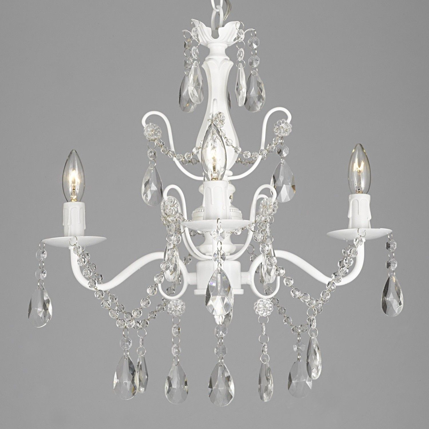 Wrought Iron And Crystal 4 Light White Chandelier H 14 X W 15 Pendant Fixture Lighting Ceiling Lamp Hardwire Plug In By Dean