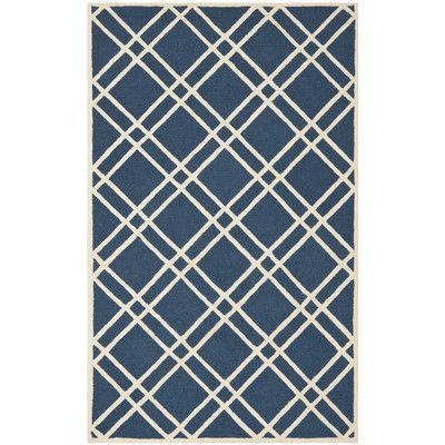 Varick Gallery Martins Navy Blue/Ivory Area Rug Rug Size: Square 8'