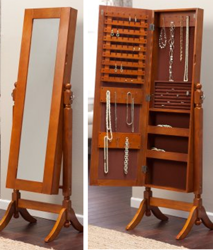 Brown Wooden Standing Jewelry Armoire With Mirror And Single Door