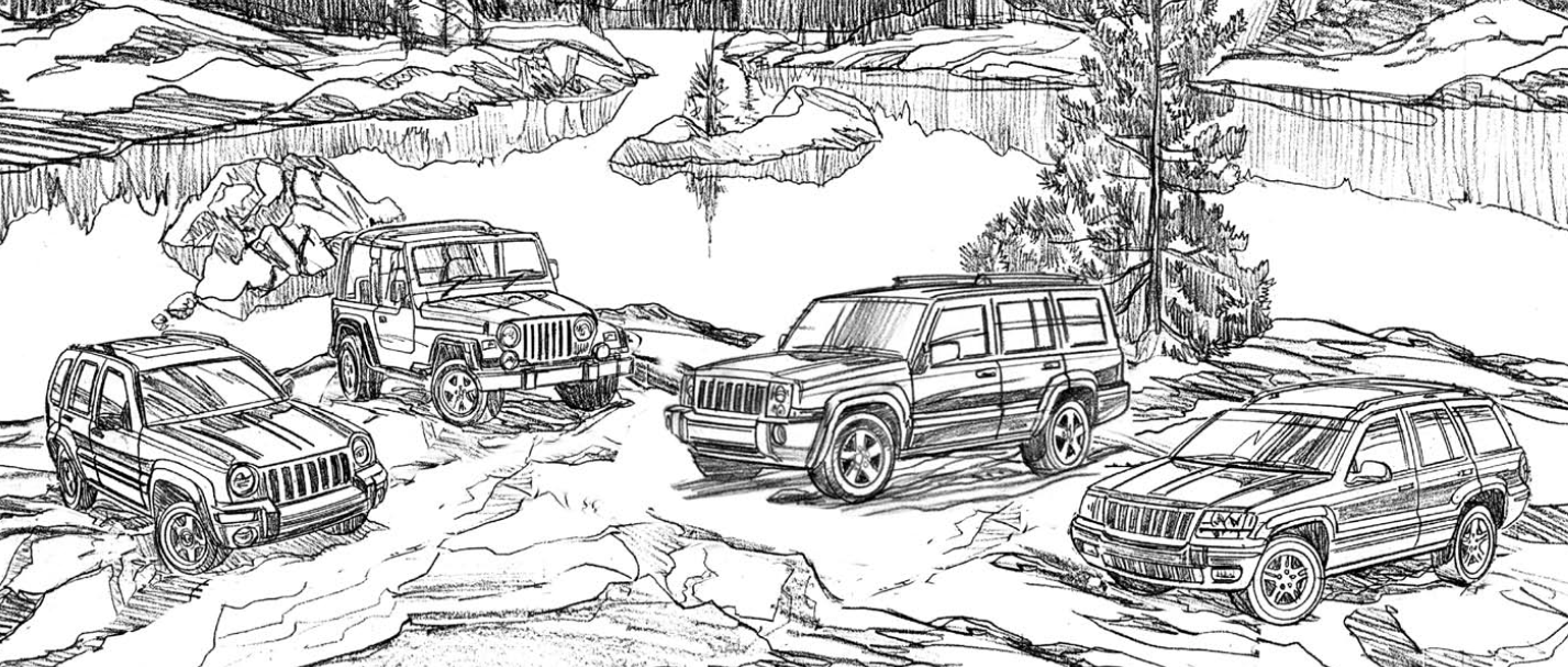 jeep liberty wrangler commander and grand cherokee ready to color - Jeep Coloring Pages