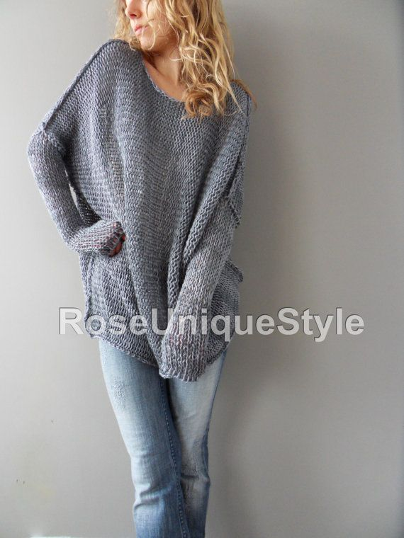 Oversized / Bulky / Slouchy tunic. Cotton blend, loose knit sweater ...
